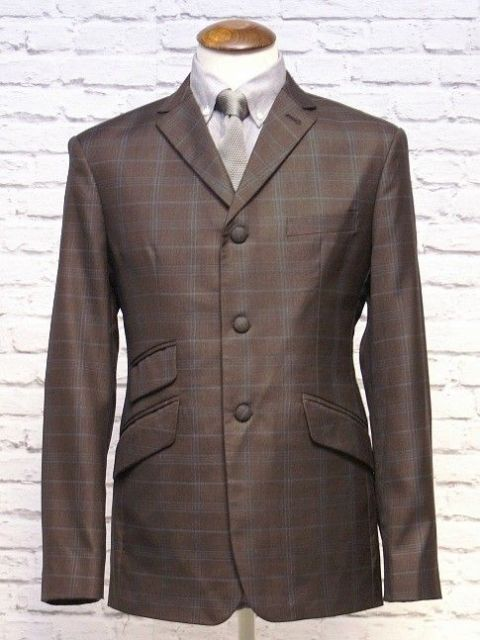 """D Hill"" Brown & Duck Blue  Check 3 Button Suit"